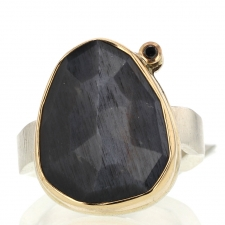Grey Moonstone and Black Diamond Ring Image
