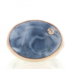 Blue Opal and Diamond Rose Gold Ring Image