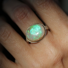 Oval White Opal Ring Image