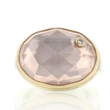 Oval Rose Quartz Ring with Diamond Accent