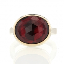 Garnet Oval 14k Gold and Silver Ring Image