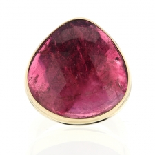 Large Pink Tourmaline Gold and Silver Ring Image