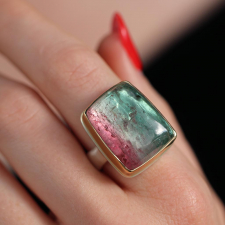 Vertical Watermelon Tourmaline Silver and Rose Gold Ring Image