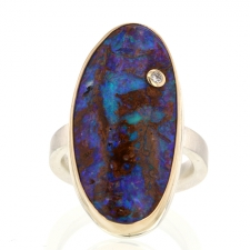 Opalized Wood and Diamond Ring Image