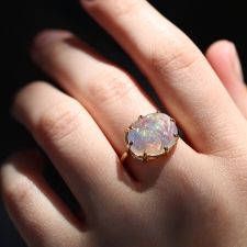 Mexican Fire Opal Multi Prong All Gold Ring Image