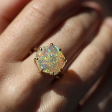 Double Basket Mexican Fire Opal All Gold Ring Image