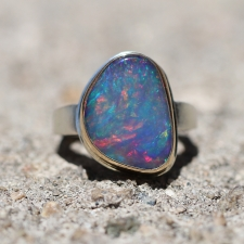 Asymmetrical Mexican Fire Opal  Silver and Gold Ring Image