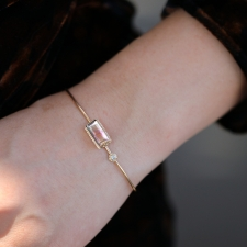 Tourmaline Rectangular Gold Bangle Image