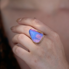 Large Boulder Opal Vertical Silver and Gold Ring Image