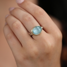 Small Oval Aquamarine 14k Gold and Silver Ring Image