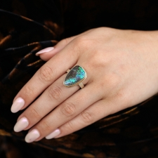 Boulder Opal Vertical Silver and Gold Ring Image