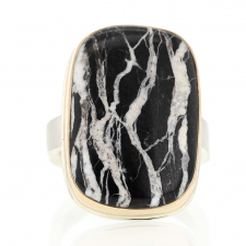 Vertical White Buffalo Turquoise Silver and 14k Gold Ring Image