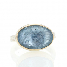 Small Oval Inverted Aquamarine Ring Image
