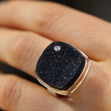 Square Brazilian Black Drusy with Diamond Ring Image