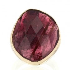XL Faceted Pink Tourmaline Silver and Gold Ring Image
