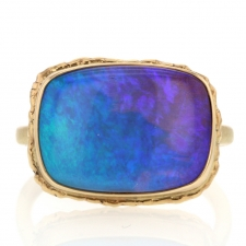 All Gold Rectagular Boulder Opal Ring Image