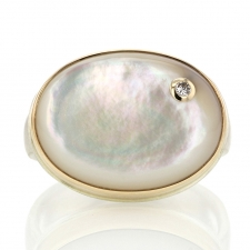 Oval Mother of Pearl Ring with Diamond Accent Image