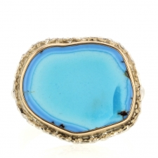 Kazakhstani Turquoise Silver and Gold Lava Edge Ring Image