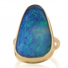 All 14k Gold Boulder Opal open backed Ring Image