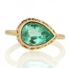 All Gold Teardrop Emerald Ring Image