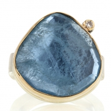 Aquamarine Ring with Satellite Diamond Image