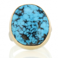 Oval Kingman Turquoise Silver and Gold Ring Image