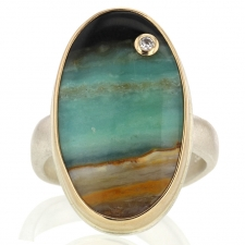 Vertical Oval Blue Indonesian Fossilized and Opalized Ring Image