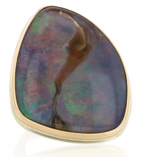 Unique XL Boulder Opal Silver and Gold Ring