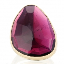 Rhodolite Garnet Silver and Gold Large Ring Image