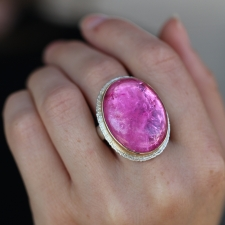 Large Oval Siberian Pink Tourmaline Ring Image