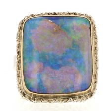 Rectangular Opalized Wood Silver and Gold Lava Edge Ring Image