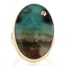 Blue Indonesian Fossilized Opalized Wood Ring with Diamond Accen Image