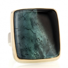 Rectangular Blue Green Tourmaline Slice Ring Image