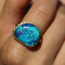 All Gold Ruffled Platform Black Australian Opal Ring Image
