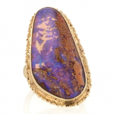 Large All 14k Gold Boulder Opal Ruffled Edge Ring Image