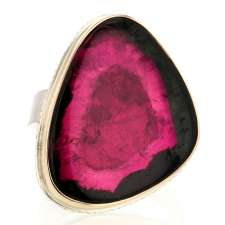 Large Watermelon Tourmaline Slice Amazing Ring Image