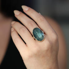 Large Vertical Inverted Moss Aquamarine Ring Image