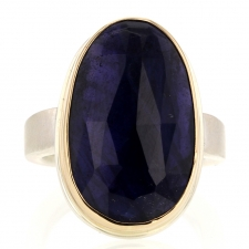 Vertical Silver and Gold Rose Cut Iolite Ring Image