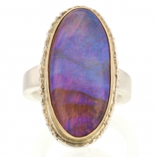 Vertical Oval Opalized Wood Ring Image