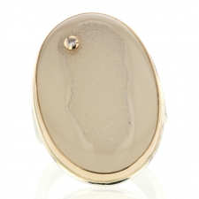 Vertical White Drusy Ring with Diamond Accent Image