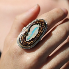 Large Vertical Boulder Opal Silver and Gold Ring Image