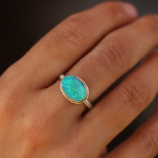 Green Australian Opal Oval Ring Image