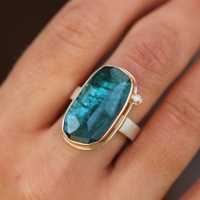 Blue Green Tourmaline Vertical Ring with Diamond Accent Image