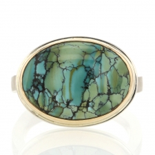 Oval Silver and Gold Turquoise Ring Image