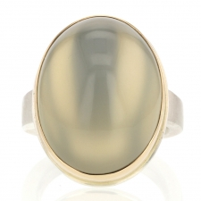 Vertical Oval Green Moonstone Silver and Gold Ring Image