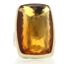 Large Vertical Rectangular Inverted Citrine Ring Image