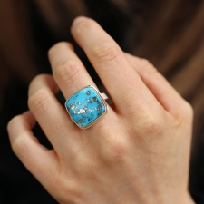 Square Persian Turquoise and Pyrite Silver and 14k Gold Ring