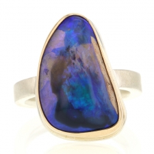 Vertical Unique Australian Black Opal Ring Image