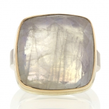 Open Back White Rainbow Moonstone Silver and Gold Ring Image