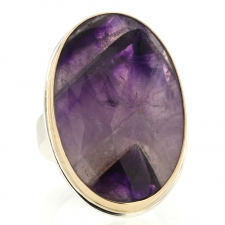 Amethyst Chevron Silver and Gold Ring Image